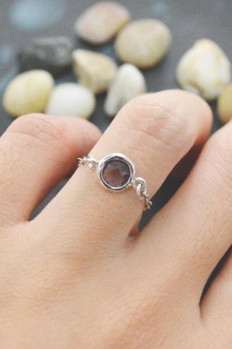 E-014 Purple Amethyst Glass ring, Gold Frame ring, Chain ring, Simple ring, Modern ring, Silver plated ring/Everyday/Gift/