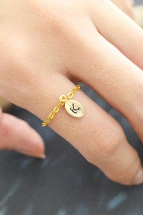 E-010 Hand Stamped Initial ring, Leaf ring, Chain ring, Simple ring, Modern ring, Gold plated ring/Everyday/Gift/