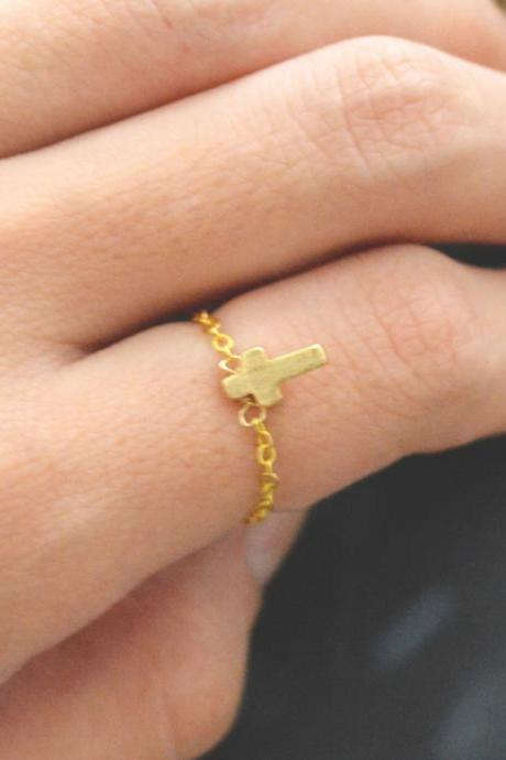 E-006 Small Cross ring, Pendant ring, Chain ring, Simple ring, Modern ring, Gold plated ring/Everyday/Gift/