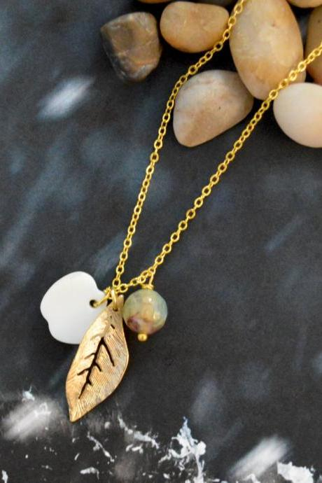 A-069 Leaf necklace, Dangle necklace, Seashell apple Necklace, Stone necklace, Gold plated chain/Everyday jewelry /Special gift/