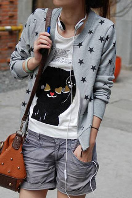 Preppy Style Zip Closed Cotton Jackets with Star - Grey