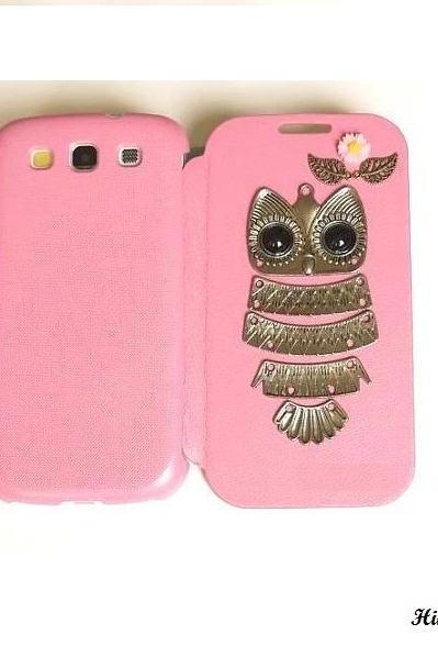 Antique Silver Owl Daisey Samsung S3 I9300 Flip Leather Case