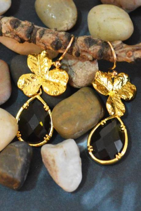 SALE) B-055 Glass earrings,Morion drop earrings,Flower earrings, Dangle earrings, Gold plated earrings/Bridesmaid gifts/Everyday jewelry/