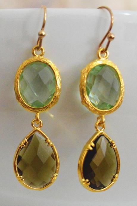 SALE) B-037 Glass earrings, Chrysolite & morion drop earrings, Dangle earrings, Gold plated earrings/Bridesmaid gifts/Everyday jewelry/