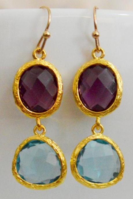 SALE) B-035 Glass earrings, Amethyst & aquamarine drop earrings, Dangle earrings, Gold plated earrings/Bridesmaid gifts/Everyday jewelry/