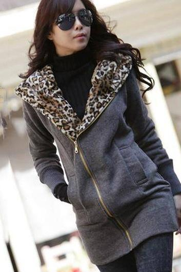 Comfortable Zip Closure Leopard Inside Cotton Hooded Coat - Dark Grey