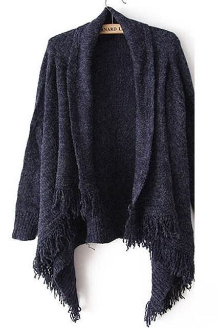 Woman Baggy Sweater Cardigans with Tassel Decoration - Navy Blue