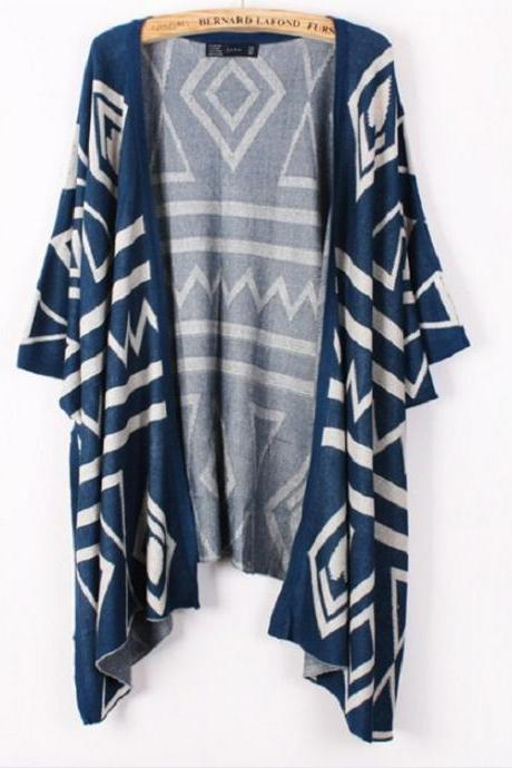 Stylish Geometrical Pattern Shawl for Woman - Dark Blue