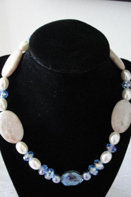 Beige Jasper and Pastel Blue Chunky Bubble Necklace