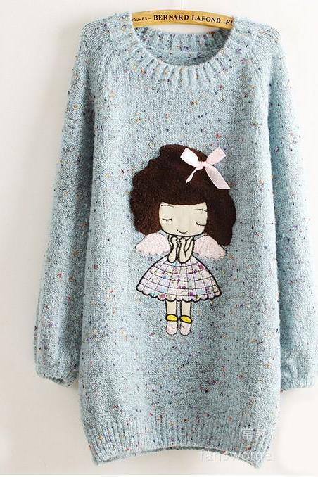Cute Little Girl Pattern Loose Round Neck Batwing Sleeve Sweater - Blue