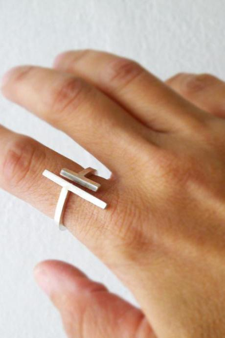Parallel Bars Adjustable Sterling Silver Ring Minimal Modern Open Ring bySteamyLab
