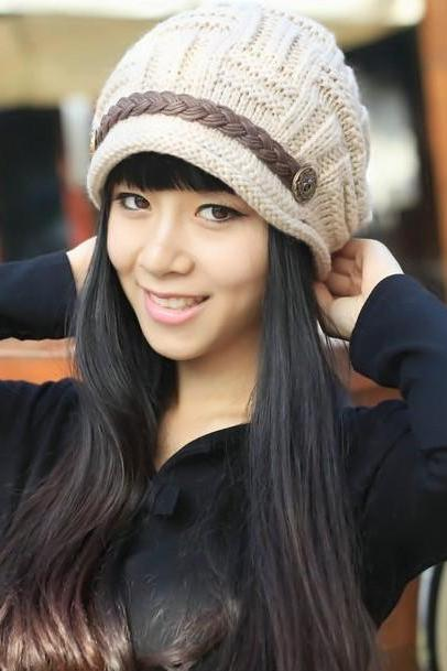 Free shipping Fashion Slouchy Knitted Hat Cap For Women - Beige