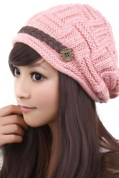 Free shipping Fashion Slouchy Knitted Hat Cap For Women - Pink