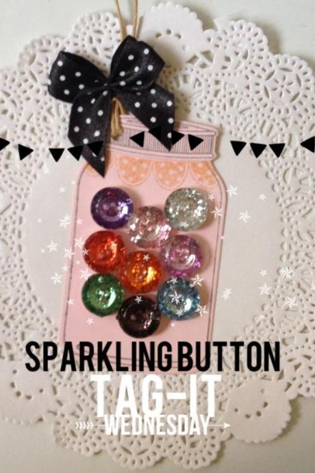 Sparkling Button Jar Tags