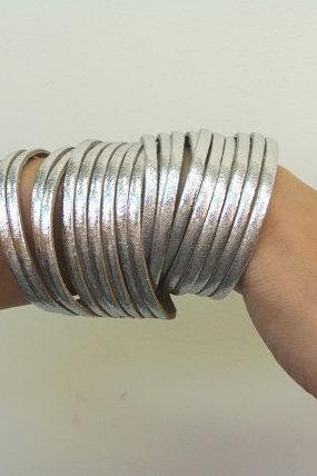 Multi Strand Metallic Silver Leather Double Wrap Cuff Bracelet
