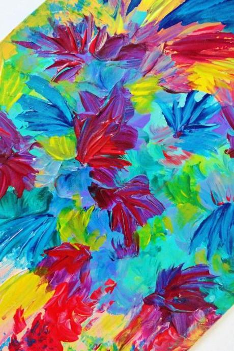 SALE - Gorgeous Tutti Frutti Abstract Acrylic Painting 11 x 14 FREE SHIPPING Rainbow Floral Art New Fall Birthday Chistmas Gift Under 125