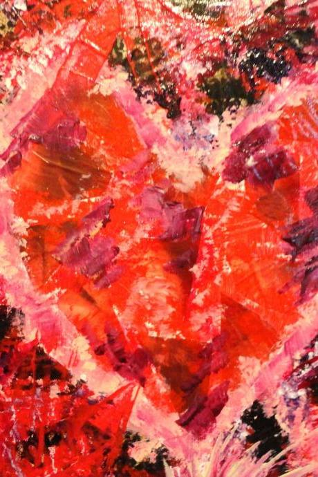 SALE - Original Abstract Acrylic Modern Painting Mend Me FREE SHIPPING Red Pink Purple Mom Heart Textured. 11 x 14 Beautiful Multimedia