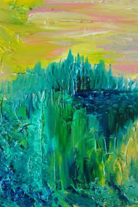 SALE - Dream Abstract Acrylic Painting FREE SHIPPING Impasto Landscape 16 x 20 Green Forest Trees, Nature Pink Yellow Peach Kelly Green Teal