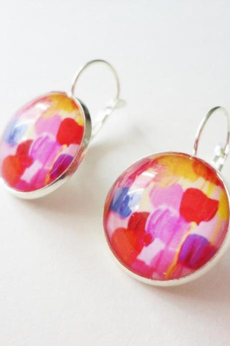 DOTTY IN PINK - Gorgeous Pink Polka Dot Dangle Earrings, Lever Back French Clasp 18mm Round Tray Glass Original Art Design