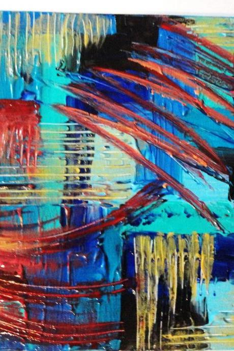 SALE - Original Painting. Colour FREE SHIPPING. Abstract Acrylic Modern 11 x 14 Expressionism Red Turquoise Blue Yellow Xmas Gift Under 100