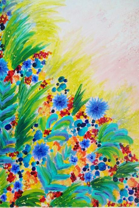 SALE - Beautiful Original Floral Painting, FREE SHIPPING 11 x 14 Bright Bold Rainbow Colorful Flowers Gift For Her Christmas 2012