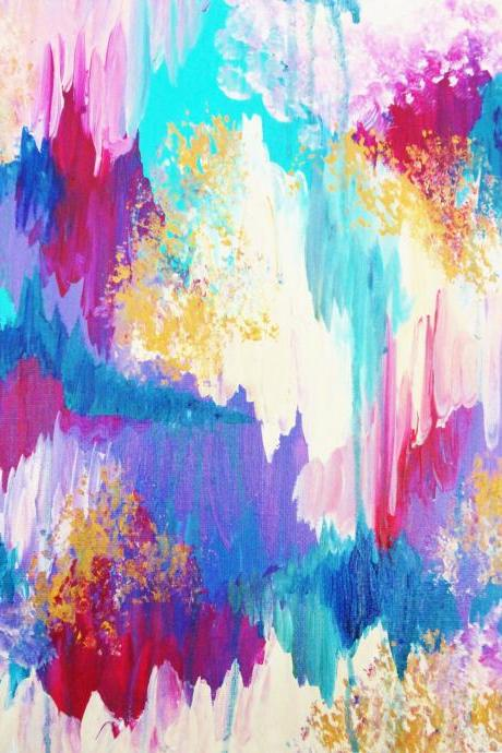 SALE - GORGEOUS Original Abstract Acrylic Painting, FREE Shipping Sweet Dreams Cotton Candy Pink, Pastel Colours, Turquoise Blue Magenta Art