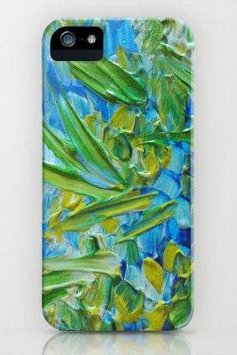 LAKE LOVE, Custom iPhone 4 4S 5 5S or 5C Case Durable Hard Plastic Phone Cover Fine Art Colorful Blue Green Lagoon Seaweed Abstract Painting
