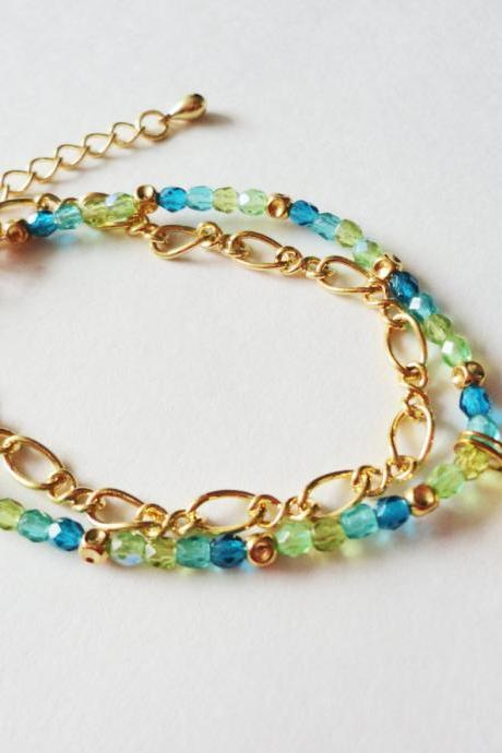 NAUTICAL GALAXY BRACELET Beautiful Blue and Green Glass Beaded Bracelet and Gold Plated Bezel and Chain, Delicate Wearable Fine Art Jewelry