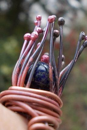 Copper Ring, wire wrapped copper lapis lazuli nest rosey patina hand forged rustic cold connected ancient metal art the primitive line