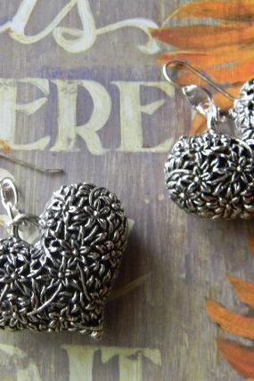 SIlver Puffy Heart Flowered Earrings