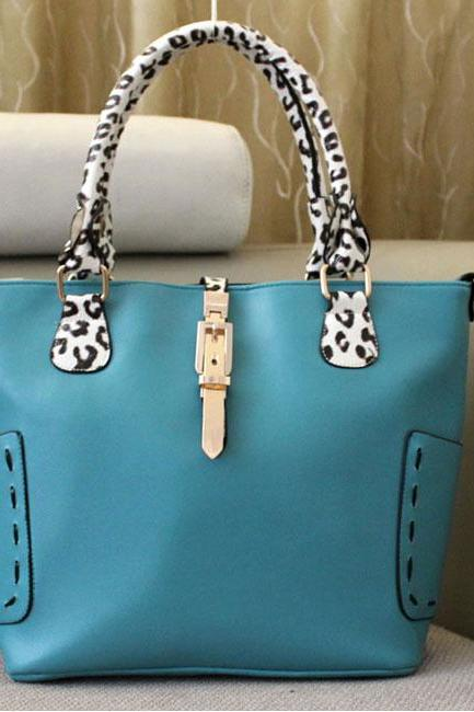 Fashion Blue Leopard Printed Stitching Leather Handbag