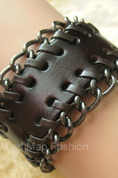 Premium Quality Punk Rock Style Toggle Chain Leather Bracelet For Women & Men