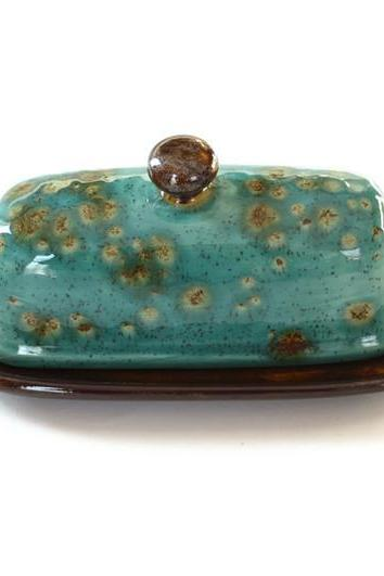 Butter Dish - Teal Blue and Brown