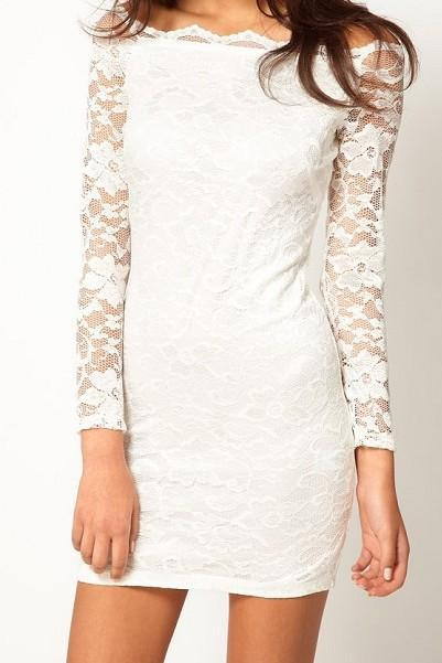 Fashion Lace long-sleeved dress - White