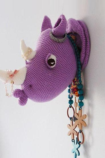 Rhinka the Rhino - Rhino Head Crochet Pattern - Crochet Wall Decor - Faux Taxidermy