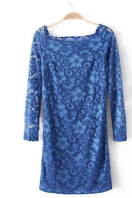 Fashion Lace long-sleeved dress - Blue