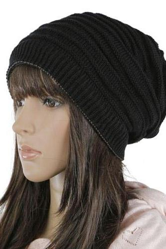 Free shipping Women Knitted Hat Cap - Black