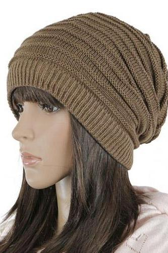 Free shipping Women Knitted Hat Cap - Coffee