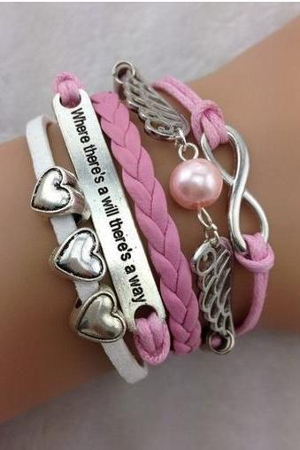 Charm bracelet motto infinity hearts cords Pink braided leather bracelet