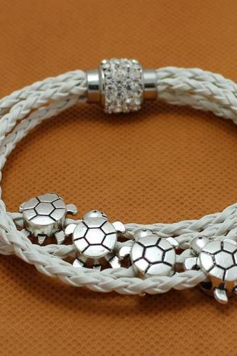 Four Turtle fashion bracelet charm bracelet white braided leather bracelet