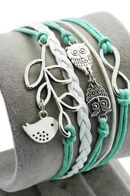 Bird leaves-infinity love bracelet charm bracelet OWL white braided leather bracelet