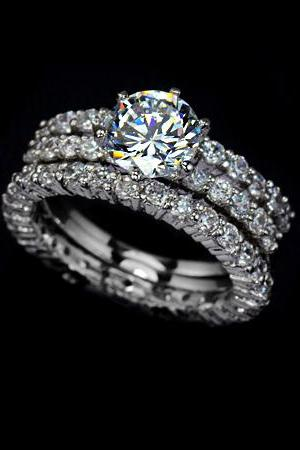 Bedazzled White Princess Diamond 3 Bands Ring w/ paved CZ's (Sz 5.5 - 8)