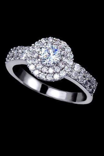 Sparkling White Gold Rhodium Plating Cubic Zirconia Pave Halo Engagement Rings - available sizes 4.75 thru 8.5