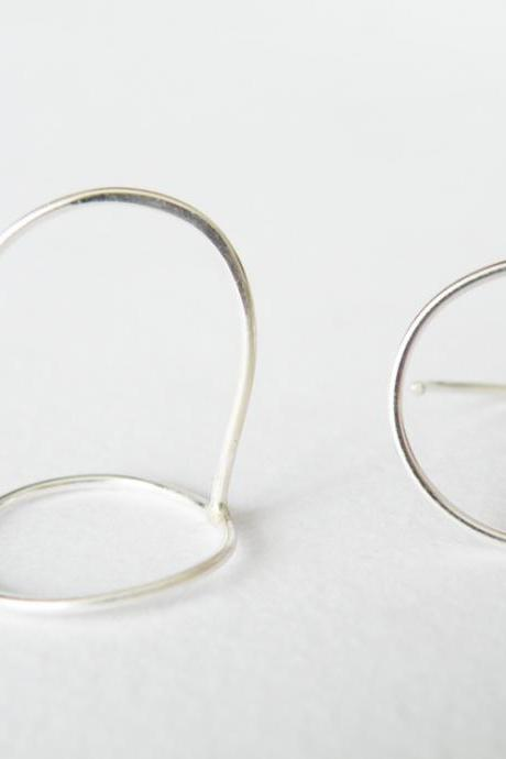 Delicate Sterling Silver Outlined Hoop Earrings Minimalist Geometric Stud Earrings by SteamyLab