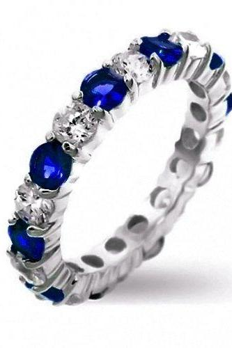 Dazzling White Gold Filled Blue/White Sapphire Diamonique Eternity Ring Band Sz 6 - 9