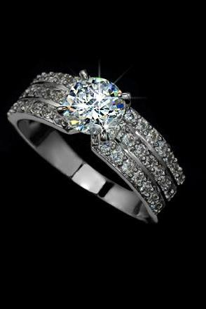 SALE - White Gold Rhodium Plated 1.25ct Round Cubic Zirconia w/ micro CZs Cluster Setting Engagement Ring - avail in woman sz 5.5, 6.5, 9