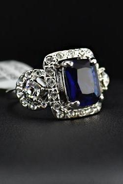 SALE - Antique Insipred Art Deco - WGP Square Blue Zircon w/ Austrian Crystals Engagement Ring (sz 5.5 thru 9)