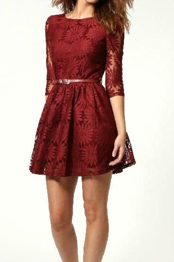 New Fashion Elegant Lace Dress With Belt - Wine Red