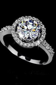 Dazzling White Gold Rhodium Plated Halo Ring paved w/ Swiss CZ's (5.25 - 8.5)