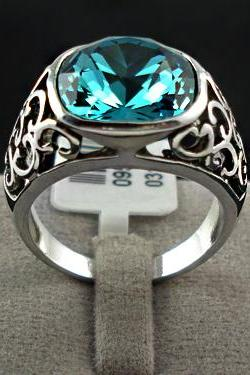 Antique Turquoise Lab Sapphire Crystal Ring - sz 5 thru 8 only